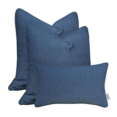 RSH Décor Set of 2 Indoor Outdoor Karate Chop Decorative Corded Square Throw Zipper Pillow Covers with BellBloc Insert with Soft Shapeable Faux Feather made of Sunbrella Fabric and Bonus - Denim Feathers