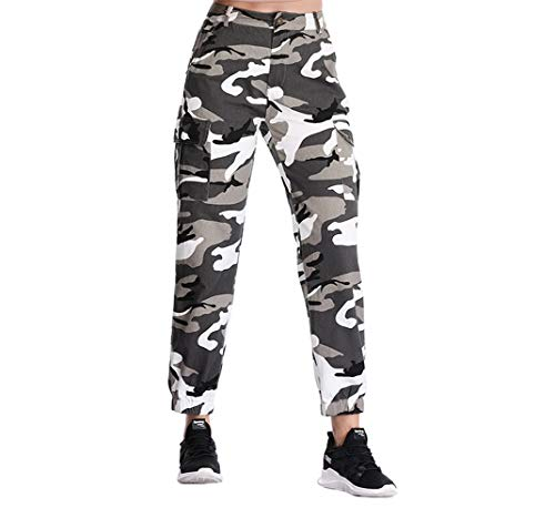 - ZODLLS Women's Camouflage Pants Cargo Trousers Cool Camo Pants High Waist Casual Multi Outdoor Jogger Pants(Gray, Small)