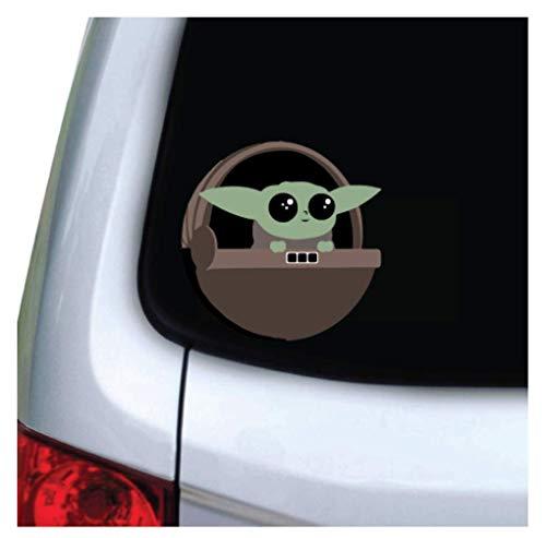 M&R Cute Green Baby Alien (5x5 inch) Laminated Waterproof Vinyl Decal Stickers for Car, Truck, Vehicle, Window, Bumper, Laptop, MacBook, Hydroflask, Yeti, Skateboard, Luggage, Bike