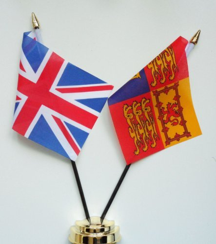 United Kingdom Royal Standard and United Kingdom Friendship Table Flag Display 25cm (10'')
