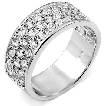 Sterling Silver 3 Rows Half Eternity Championship CZ Ring Sz 10