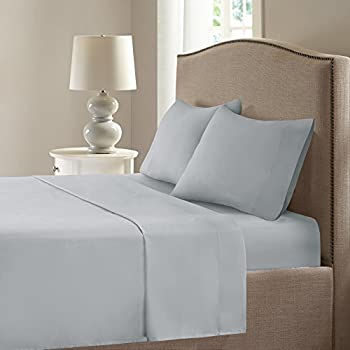 Comfort Spaces Coolmax Moisture Wicking 4 Piece Set Smart Bed Cooling Sheets for Night Sweats, Queen, Grey