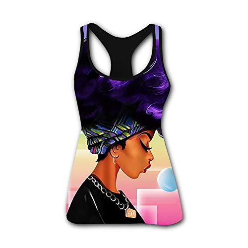 Sleeveless Natural - Women's Summer Afro Girl African American - Black Natural Hair Styles 3D Printed Sleeveless Racerback Tank Tops Vest Shirts S