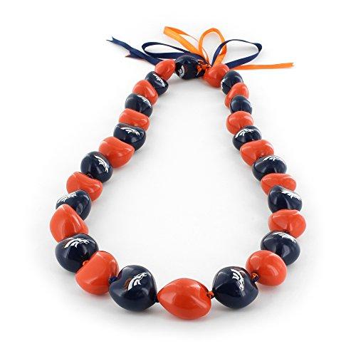 NFL Denver Broncos Kukui Nut Necklace,  Orange/Blue