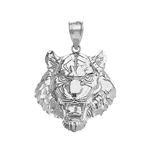 - Solid 925 Sterling Silver Roaring Tiger Head Necklace Pendant (Large)