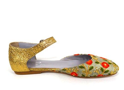 Signore Di Bellezza Oro Riemchenballerinas Oro (saldatura Coordinatore Oro)