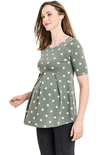 Women's Round Neck Peplum Maternity Top with Front Pleat (Olive/Gray Dot, -