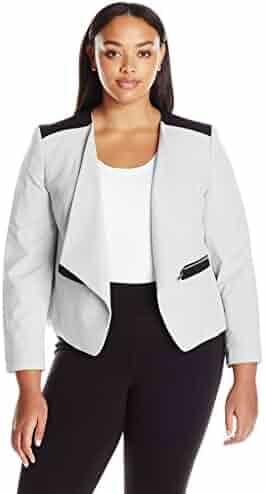 d16ab38ef92 Nine West Women s Plus Size Wing Lapel Kiss Front Jacket
