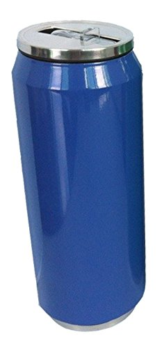 Thermos Can Double Walled Vacuum Insulated 16 Ounce Stainless Bottle with Flip up Straw Blue