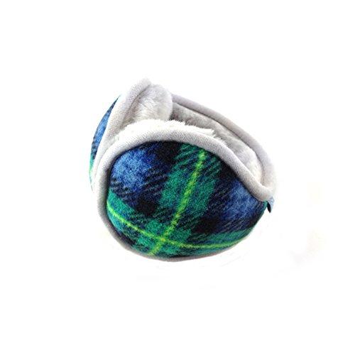 Classic Fleece Earmuffs Foldable Ear Muffs Winter Accessory Outdoor EarMuffs£¨green grid£
