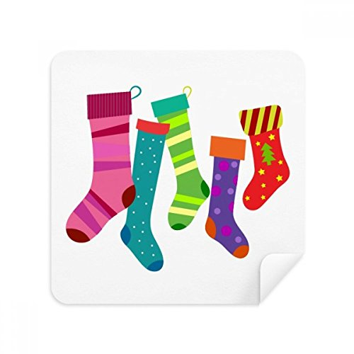 Merry Christmas Colorful Stockings Illustration Glasses Cleaning Cloth Phone Screen Cleaner Suede Fabric 2pcs
