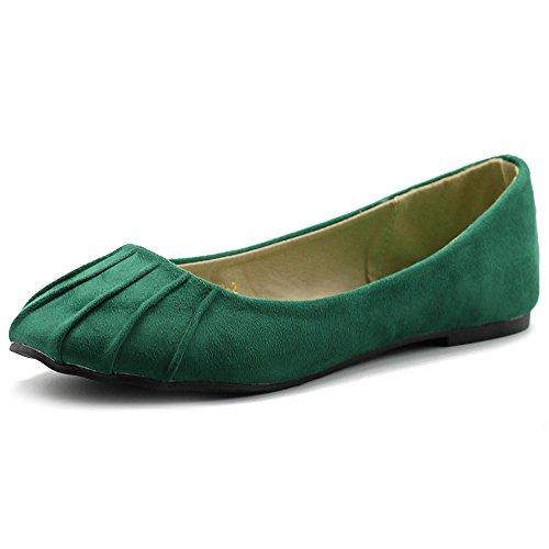 Ollio Women's Ballet Shoe Comfort Faux Suede Flat ZM1030(8 B(M) US, Green) -