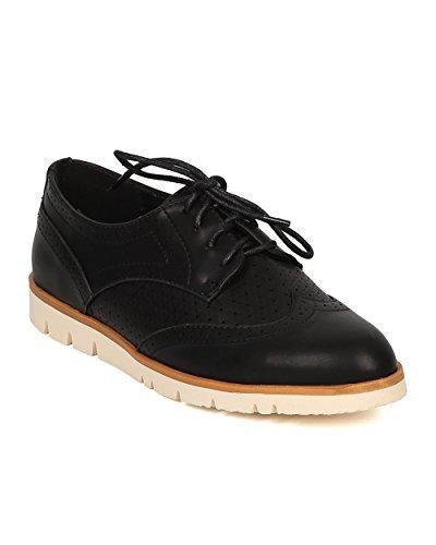 Nature Breeze Women Spectator Flat Loafer - Oxford Sneaker - Lug Sole Loafer - GI09,8.5 B(M) US,Black Leatherette