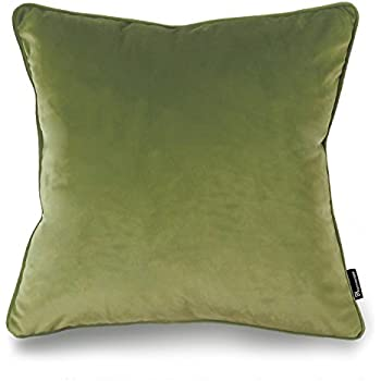 "Phantoscope Decorative New Luxury Series Green Velvet Style with Trim Throw Pillow Case Cushion Cover 18"" x 18"" 45cm x 45cm"
