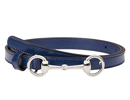 Gucci Women's Blue Leather Horsebit Buckle Skinny Belt, 32, Blue