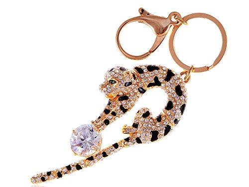 Alilang Ball Play Circus Wild Leopard Tiger Cat Swarovski Crystal Rhinestone Keychain