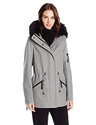 Calvin Klein Women's Anorak Wool Faux Fur Trimmed Coat