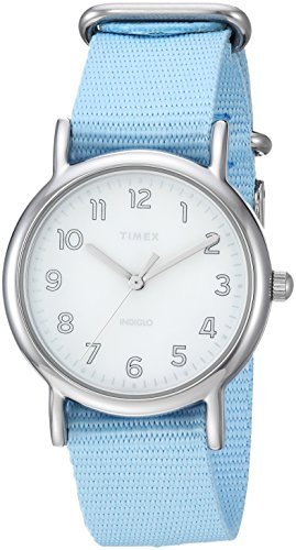 (Timex Women's TW2R80600 Weekender 31 Blue/Silver-Tone Nylon Slip-Thru Strap Watch)