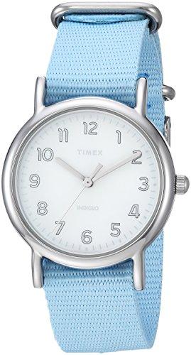 Timex Women's TW2R80600 Weekender 31 Blue/Silver-Tone Nylon Slip-Thru Strap ()