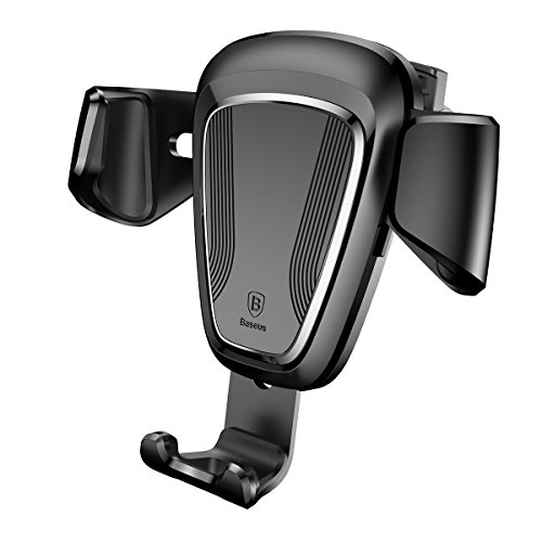 Car Phone Mount by PULSE | Universal Gravity Car Mount Air Vent Holder Cradle One-Touch Design for iPhone X/8/8Plus/7Plus, Galaxy Note 8/S8 Plus/S7 Edge,and Other phones (Black)