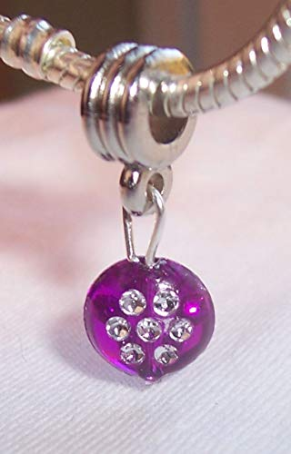Purple Acrylic Circle February Birthstone Dangle Charm for European Bracelets Crafting Key Chain Bracelet Necklace Jewelry Accessories Pendants