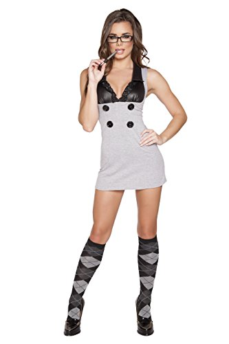 1 Piece Sexy Librarian Button Dress Party Costume]()