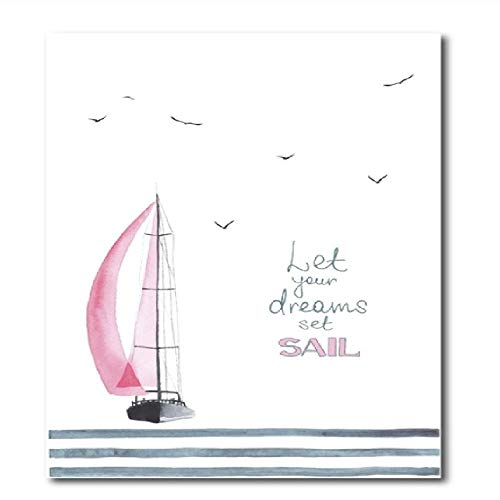 SCLPOSTER Poster Watercolor Pink Sailboat with Seagulls Wall Art Print Canvas Painting Girl's Room Decoration,B