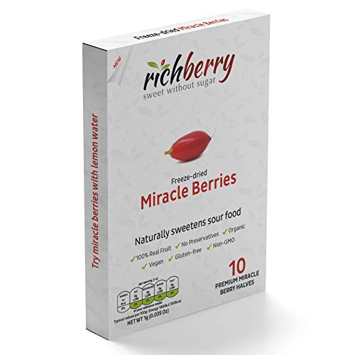 Miracle Berry by richberry, 10-halves, Freeze Dried Premium Fruits, 100% Real Fruit, No Preservatives, Naturally Sweetens Sour Food, Organic, Great for Snacks and Taste Tripping, Low Sugar Diet, Vegan