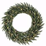 Vickerman Clear Dura-lit Lights Frosted Bellevue Alpine Artificial Christmas Wreath, 72-Inch