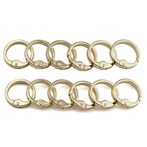 JCBIZ 12pcs 28mm Round Spring Snap Hooks Clip DIY Accessories for Handbag Purse Shoulder Strap Key Chains Buckle Alloy Circle Round Carabiner Metal Spring Key Ring Gold