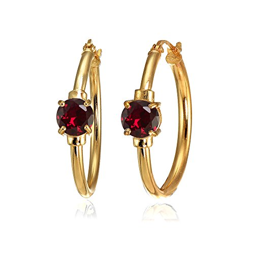 Gold Ruby Solitaire - Rose Gold Flashed Sterling Silver Created Ruby Solitaire 25mm Hoop Earrings