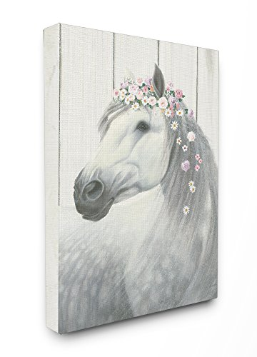 Stupell Industries Spirit Stallion Horse with Flower Crown Stretched Canvas Wall Art, Proudly Made in USA