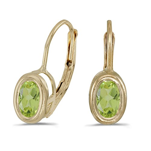 14k Yellow Gold 6x4mm Oval Peridot Bezel Set Lever-back Earrings