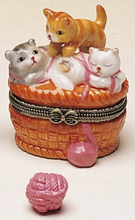 Cat Kittens Basket of Yarn Hinged Trinket ()