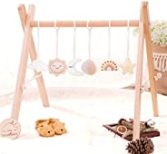 little dove Wood Baby Gym with 3 Wooden Baby Teething Toys Foldable Play Gym Frame Activity Gym Hanging Bar Ne