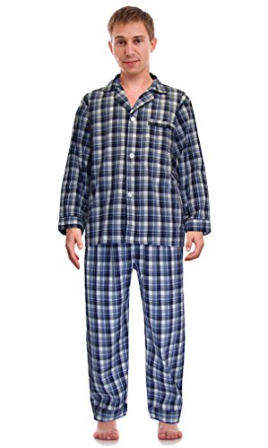 RK Classical Sleepwear Mens Broadcloth Woven Pajama Set, Size Medium, Blue / Gray, Plaid