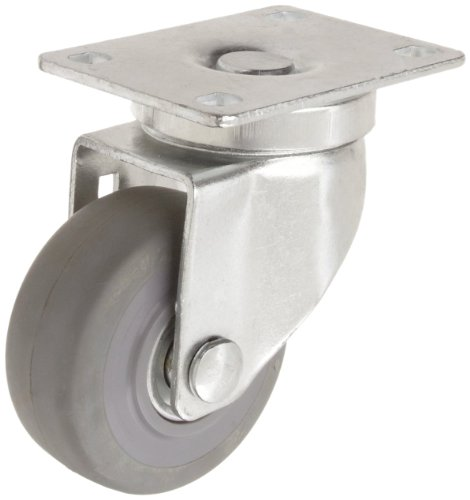 "RWM Casters VersaTrac 27 Series Plate Caster, Swivel, TPR Rubber Wheel, Ball Bearing, 190 lbs Capacity, 3"" Wheel Dia, 1-1/4"" Wheel Width, 4-1/4"" Mount Height, 3-3/4"" Plate Length, 2-5/8"" Plate Width from RWM Casters"