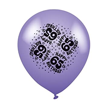 Pack Of 8 Happy 65th Birthday Multi Coloured Latex Party Balloons
