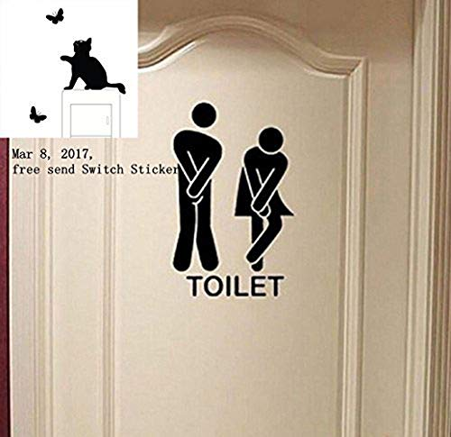 Vpawn Removable Cute Man Woman Washroom Toilet WC Wall Sticker Family DIY Decor Art Stickers Home Decor Wall Art for Kids Living Room Bedroom Bathroom Office Home Decoration
