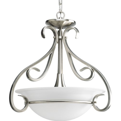 Progress Lighting P3843-09 3-Light Semi-Flush with Etched White Bell-Shaped Glass Bowl and Squared Scrolls and Arms, Brushed Nickel