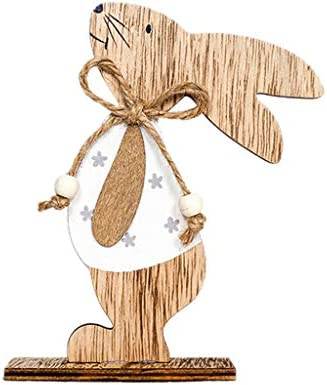 Cooljun Osterhasen Deko Holz Ostern Ornamente Bunny Rabbit Desktop