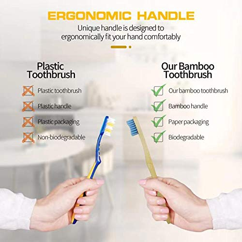 Biodegradable Bamboo Toothbrushes, 10 Pcs Eco-Friendly Natural Toothbrushes for Adults with BPA Free Soft Nylon Bristles,Compostable,Green and Nonplastic(5 Colors Set)