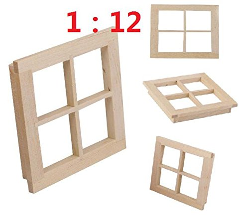 EatingBiting(R) 1:12 Dollhouse Miniature DIY Wooden Square Windows Furniture Acessories, Dollhouse Miniature Scene Doll Home Furniture Craft Dollhouse Miniature Wooden 4 Pane Window DIY ()