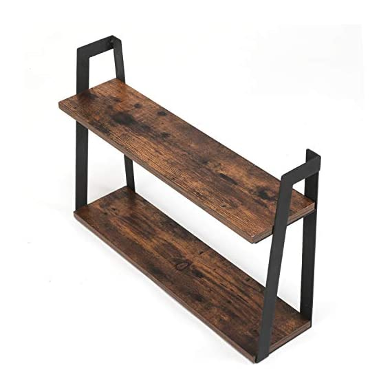 MaidMAX Floating Shelves, 2 Tier Rustic Shelf, Display Storage Ledge, Wall Mounted Shelf with Metal Brackets for Living Room, Bathroom, Bedroom, Kitchen, Wood Grain Finish - FLOATING SHELF DIMENSION: 23.5 (L) x 5.8 (D) x 15.6 (H) inches, load capacity: 35.3 lbs. TWO TIER STORAGE SHELVES : Lightweight but solid organizing shelves with ample storage, capable of holding over 35 lbs,offering large room for books, DVDs, ornaments and more. FUNCTIONAL WOOD WALL SHELVES : Unique shelving solution for reducing clutter by adding additional shelving space for books, collectibles, plants, crafts, photos and more in living room, bedroom, office, kitchen, pantry; Ideal for displaying your favorite collectibles or decorative items. - wall-shelves, living-room-furniture, living-room - 413F4GDm%2BBL. SS570  -
