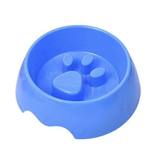 (Braceus Cute Raised Paw Print Pet Slow Feeding Bowl for Dog Cats Eco-Friendly Feeder (Blue) )