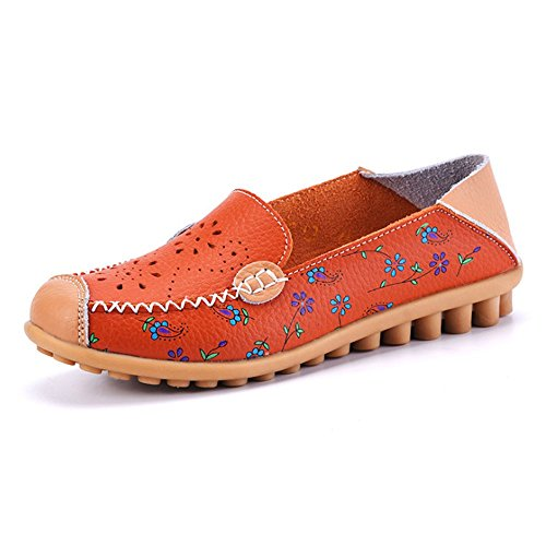 Labato Style Women's Floral Print Casual Leather Slip On Flats Loafers Shoes (Orange, 10 B(M) US)
