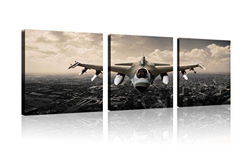 Vintage Airplane Prints - QICAI Vintage Airplane Wall Art Giclee Canvas Vintage Airplane Canvas Prints Old Paper Airplane Pictures Canvas Stretched and Framed Aircraft Pictures Paintings Artwork for Home Decor,3 pcs/set