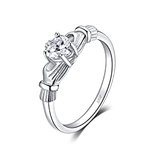 JewelryPalace Heart 0.7ct Irish Celtic Claddagh Sona Diamond Birthstone Promise Ring 925 Sterling Silver Size 7