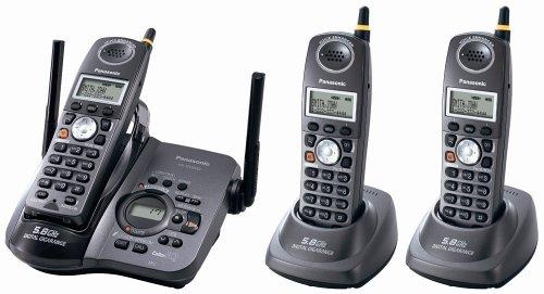 Panasonic KX-TG5633B 5.8 GHz FHSS GigaRange  Digital Cordless Answering System with Three Handsets