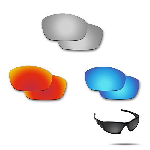 Fiskr Anti-Saltwater Polarized Replacement Lenses for Oakley Ten X Sunglasses 3 Pair Pack